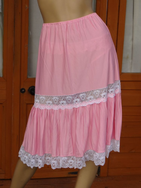 "AUTHENTIC 1960'S 2 TIERED NYLON PETTICOAT  SIZE:- UK:- MEDIUM  WAIST:-22-36""  #B27"